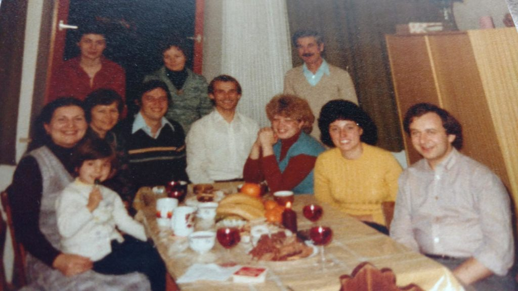 New Year's Eve party at the Romanian Family's room. Back row: Carmen, the daughter, her mother and father (I don't remember their names). Around the table: Krisztina, Ibi, Vali, Laci, Czech couple, Czech couple.